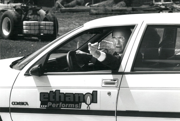 With then-Nebraska Governor Kay Orr in the passenger seat, President George Bush drove an ethanol-powered Chevrolet around the Nebraska Tractor Test Laboratory track during his 1998 visit to campus.