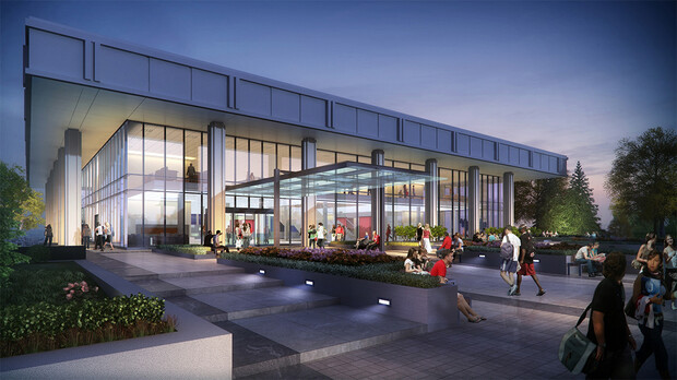 The exterior facade of a renovated C.Y. Thompson will change from pre-cast concrete panels and small windows to ground-to-roofline glass. This rendering also shows a concept for how the building will link to Legacy Plaza. Plans for the plaza are being finalized by university leaders.