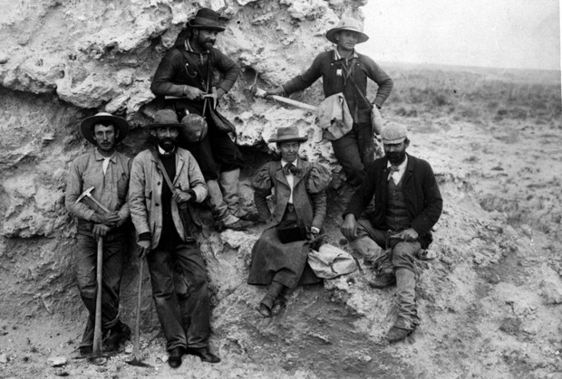 """Carrie Barbour (seated, middle), an art instructor, poses with other members of a paleontology dig crew in this image by her brother, E.H. Barbour. This image is included in Kay Logan-Peters' new book, """"University of Nebraska–Lincoln."""""""