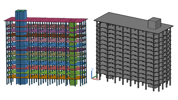Graduate student Chen Fang created these preliminary model schematics of Cather and Pound halls for the research project. The image shows a finite element model (left) and a geometry model.