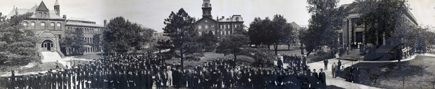Nebraska graduates, faculty and administrators pose for a panorama in this photo from around 1910. Buildings pictured (from left) are Architecture Hall (then the library), University Hall and the old Administration Building.