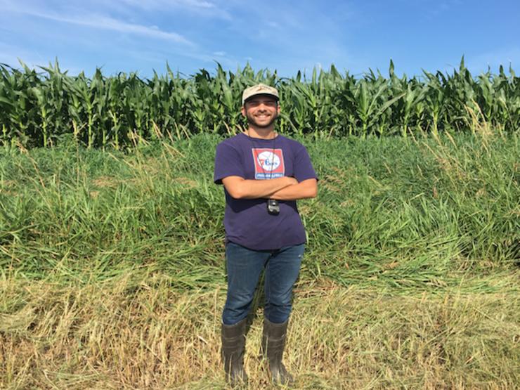 Nebraska researcher Dominic Cristiano in the field