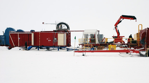 Pictured is the Whillans Ice Stream Subglacial Access Research Drilling (WISSARD) project base in Antarctica.