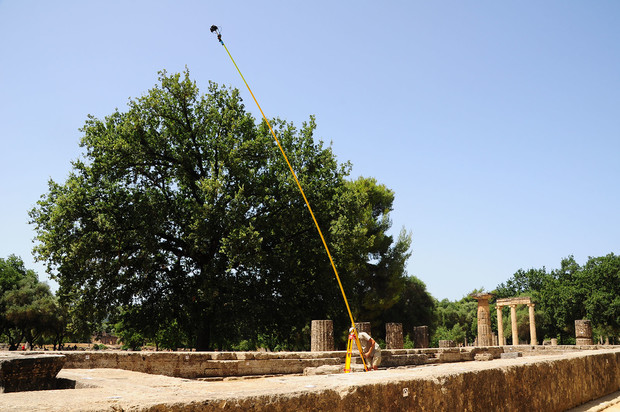 Philip Sapirstein used a 30-foot crane to capture elevated images of the Temple of Hera during summer 2014.