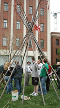 Students led by UNL's Mark Awakuni-Swetland set up a tipi outside of Oldfather Hall in April 2012.
