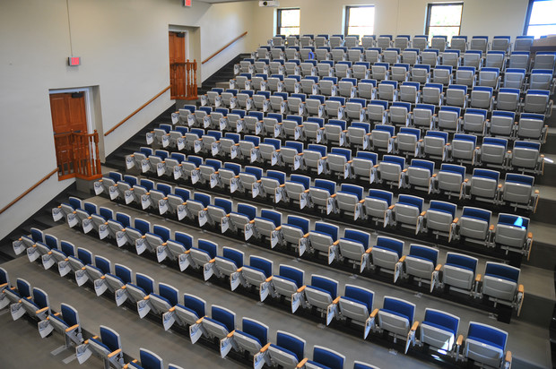 The redesigned Brace Labs auditorium seats 186. It is UNL's seventh-largest lecture hall.
