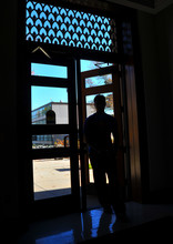 A student enters Brace Hall through the east door on Nov. 4.