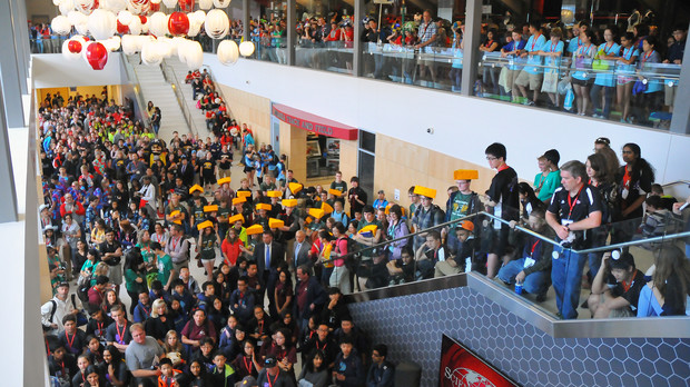 More than 2,000 Science Olympiad students flooded into the Devaney Sports Center to watch the egg drop competition held May 15.