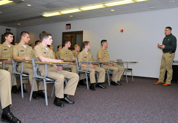 Koan Nissen, UNLPD's education and personnel officer, leads a training session with UNL Naval ROTC students on Feb. 13. Nissen offers a variety of training session to faculty, staff and students.