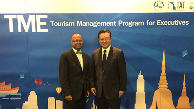 Dipra Jha (left) with Dr. Yuthasak Supasorn, Governor, Tourism Authority of Thailand.