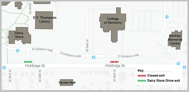 The exit lane (in red) from the East Campus Loop at 40th and Holdrege streets closes Aug. 10. Traffic exiting from the south edge of East Campus will be directed to the traffic signal-controlled intersection (in green) south of the Dairy Store. Click to enlarge.