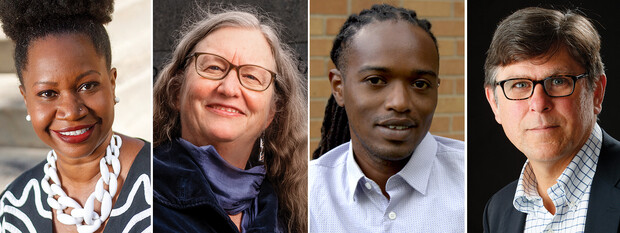 """Mugshots of the four who will participate in the Sept. 1 """"Global and Historical Moments of Reckoning"""" panel discussion. They are Deirdre Cooper Owens, Margaret Jacobs, Ng'ang'a Wahu-Mūchuri and William G. Thomas III."""