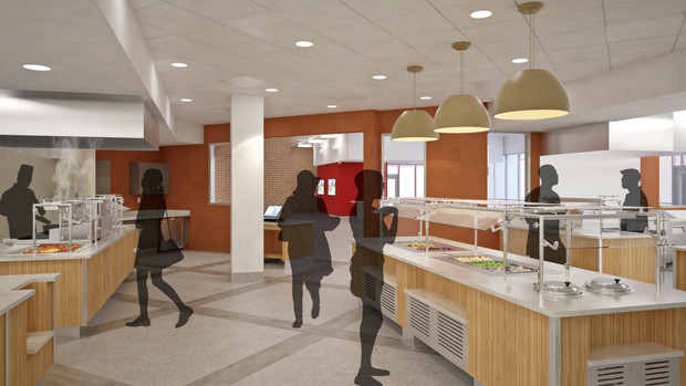 Concept drawing of the renovated dining center in the Nebraska East Union.