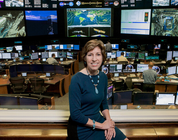 Ellen Ochoa sits in NASA's Johnson Space Center in Houston. She served as the first Latinx and second woman to lead the center for human spaceflight, where human spaceflight training, research and flight control are conducted.