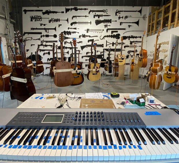 View from the keyboard in the musical art exhibition designed by Charley Friedman, Luke Farritor and Jay Carlson.