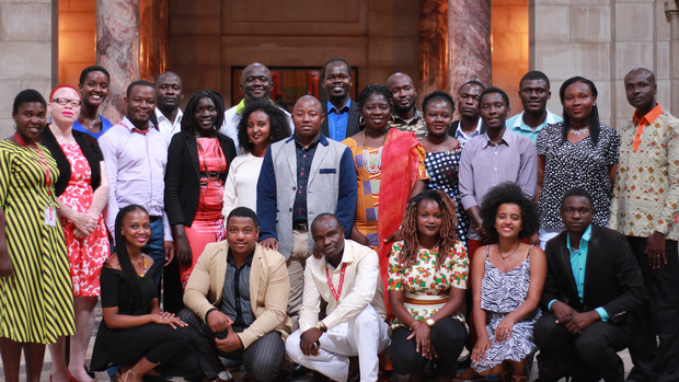 Nebraska's 2017 Mandela Washington Fellows pose for a photo during a visit to the state capitol building.