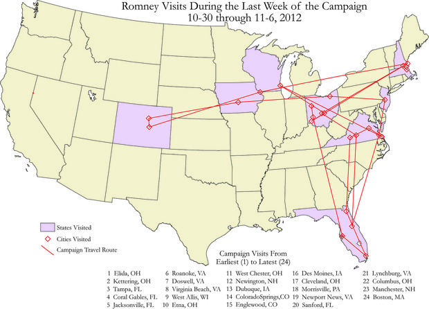 "Map from ""Atlas of the 2012 Elections"" showing campaign stops by Mitt Romney during the final week of the 2012 presidential campaign."