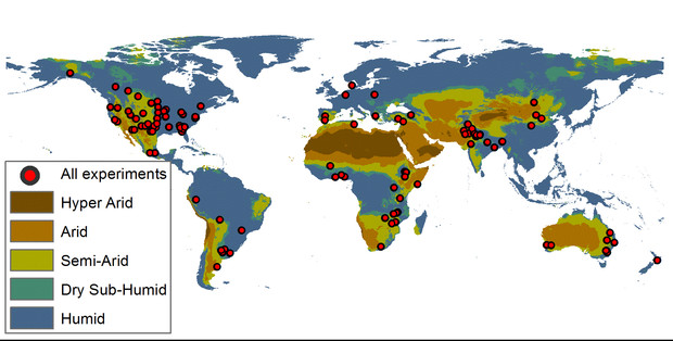 Map of research sites included in the meta analysis.