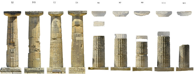 Images of columns at the Temple of Hera.