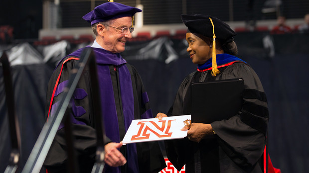 Chancellor Harvey Perlman (left) presents an honorary Doctor of Fine Arts degree to Barbara Hendricks during May 9 commencement exercises in Pinnacle Bank Arena. Hendricks, an opera singer and UNL alumna, delivered the undergraduate commencement address.