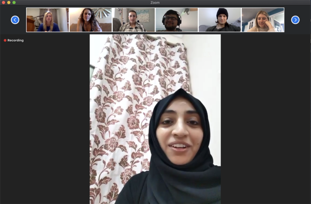 An Omani student from the University of Nizwa shares her perspective during a morning Zoom call with her Nebraska peers.
