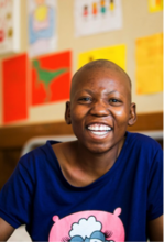 Grace Abraham, during her treatment for cancer in Botswana