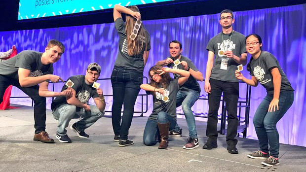 Members of Nebraska's iGEM team celebrate after winning top honors at an international competition in Boston.