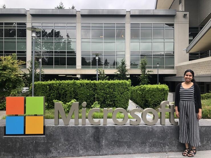 Gauri Ramesh stands outside of Microsoft's headquarters in Seattle, Washington