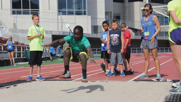UNL's Husker Kids and Husker Adventures program offers more than 1,000 recreational activities to its participants. Activities range from dodgeball and track and field events (shown here) to ice skating and learning about healthy snacks.
