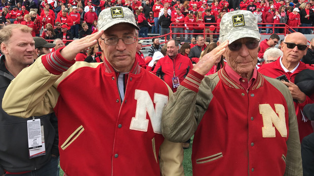 Little Jim Murphy (left) and Big Jim Murphy, both former Husker football players and military veterans, served as gate sentinels during a game in 2017.