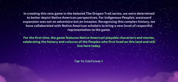 The acknowledgement at the beginning of the Oregon Trail game was written by Margaret Huettl.