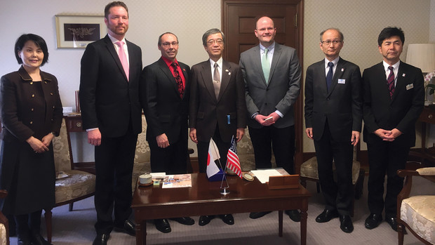 Members of the Nebraska delegation meet with Japanese colleagues. Pictured (from left) is Hisami Imagawa, business development manager for Nebraska Center Japan; Jon Kerrigan, education abroad coordinator for Global Engagement; Steve Goddard, interim vice chancellor for research and economic development; Kazuo Kanazawa, vice governor the Hyōgo prefecture; Daniel Jackson, international business manager for Nebraska; Norihisa Mizuguchi, director general, international affairs bureau, Hyōgo prefecture; and Hiroshi Tajihi, director, international relations division, Hyōgo prefecture.