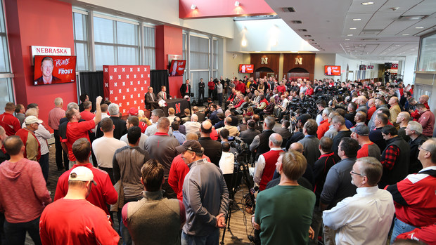 Media, university officials, Husker athletics staff and former Husker football players gather in Memorial Stadium to hear the Dec. 3 announcement that Scott Frost is Nebraska's new head coach for football.