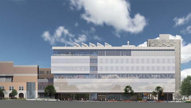 Architectural rendering showing the most recent design for the south face of Kiewit Hall. The final design of the building continues to be developed.