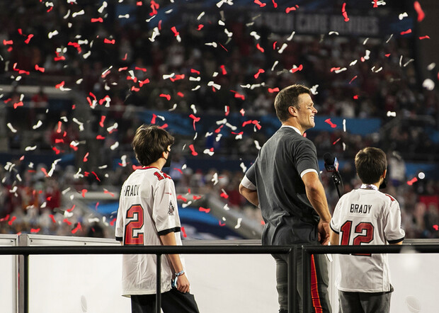 Tom Brady celebrates with his children after winning Super Bowl LV in Tampa Bay on Feb. 7. Nebraska's Maddie Washburn helped photograph the event through an NFL internship.