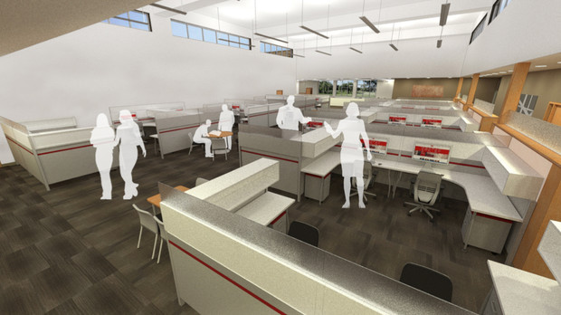The 140,000-square-foot addition to the NU College of Law will allow for potential expansion of the college's four legal clinics. Shown here is an architect's rendering of the project's interior.
