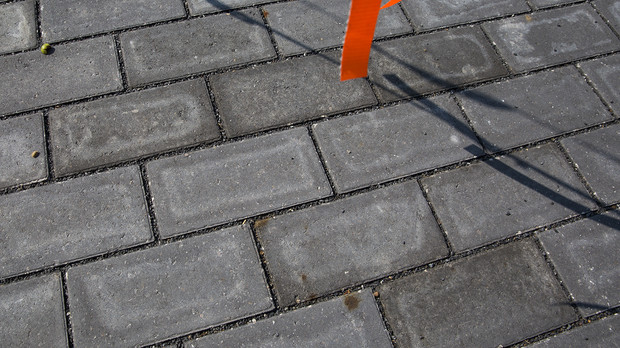 Permeable pavers rest on top of silva cells at UNL's new Love Library Learning Commons plaza, located on the north side of the library. Spacing between the pavers allows rain water to flow into bioretention soils below.