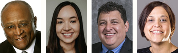 Nebraska alumni being inducted into the new multicultural hall of fame are (from left) Dick Davis, Ashley Hornsby, Lance Morgan and Cameya Ramirez-Rosseau.