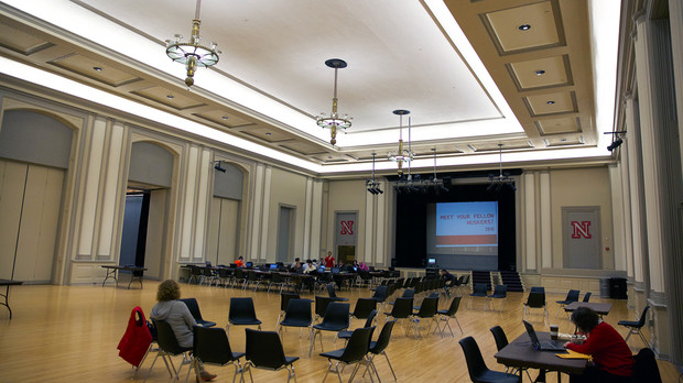 Recent upgrades to the Nebraska Union include a facelift to the Ballroom. Work included ceiling paint, lighting improvements and new curtains.