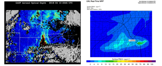 The left image shows aerosol optical depth, or the number of particles in the air, observed by a NOAA satellite at 6:45 p.m. April 13. Higher optical depths indicate heavier smoke and particles. Orange, red and purple indicate higher levels of particle pollution, including smoke. Gray areas are clouds or rain blocking the satellite's view. The right image shows Wang's Weather Research and Forecast model accurately predicted the movement  from Kansas into Nebraska. The green area in northwest Missouri likely includes air pollution from Kansas City.