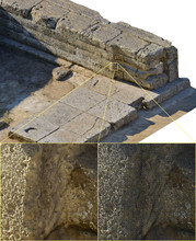 Philip Sapirstein is using a software program to combine individual photos into 3-D images of ancient Greek temples. The program uses the images to generate a 3-D grid (lower right) and projects details from the photo onto the grid (top and lower left).