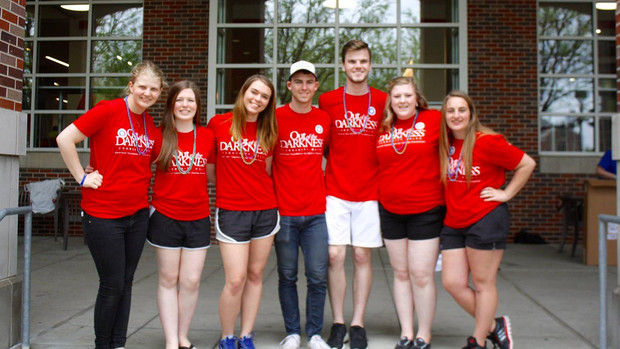 Members of the university's Out of Darkness student group include (from left) Taylor Scholl, Sydney Vogel, Shelby Williby, Mark Bowling, Tanner McKerlie, Anna Owens and Mandy Houston.