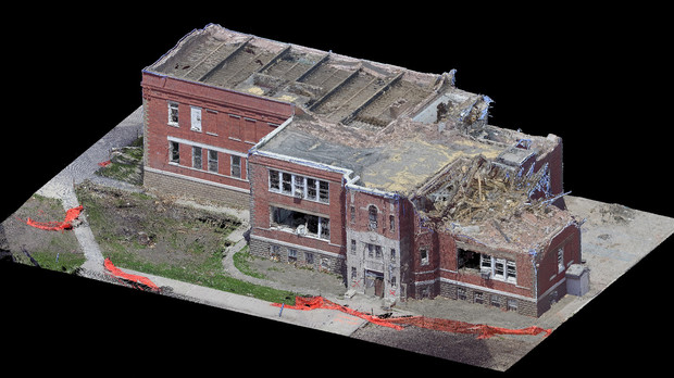 Civil engineering researchers from UNL created this 3D model of Pilger Middle School from data collected days after a tornado struck the community in July 2014. Data from the study will be presented to community school officials and UNL's Digital Commons.