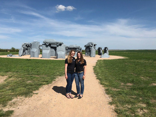 Nebraska's Emily Frenzen and Sage Williams visited Carhenge in Alliance while looking for ideas to improve the High Plains Museum in McCook.