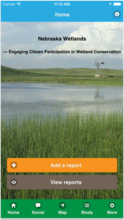 Screenshot from the Nebraska Wetlands app developed by a UNL team led by Zhenghong Tang. The app is designed to promote public awareness and engagement in wetland conservation.