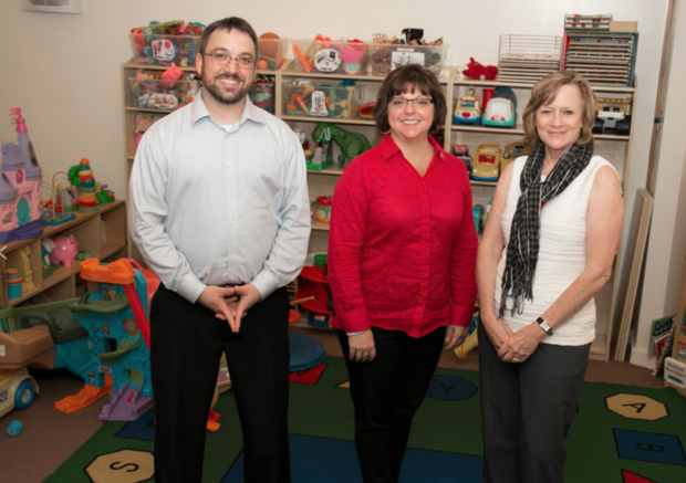The university's autism specialization research team includes (from left) William Higgins, Gina Kunz and Terri Matthews.