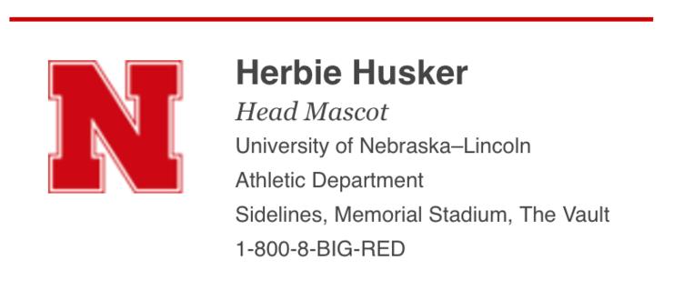 Nebraska-branded email signature