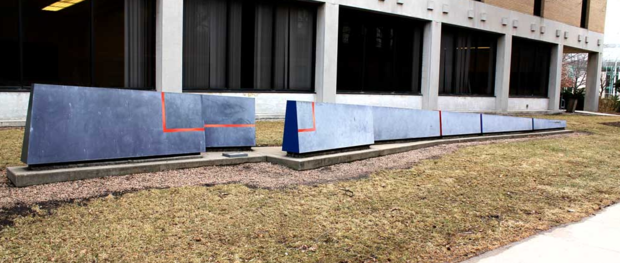 """Variable Wedge,"" a sculpture north of Westbrook Music Building, pictured before a recent update."