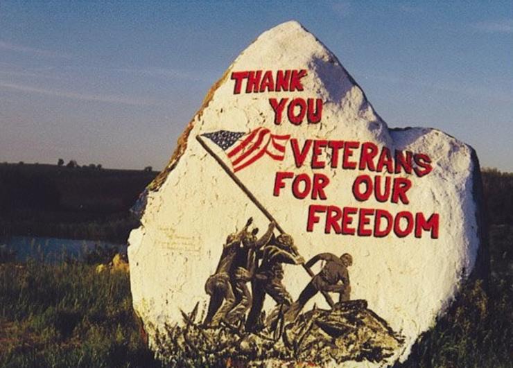 Iowa's Freedom Rock shown in its 1999 design.