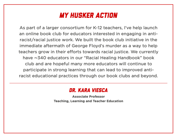 The My Husker Action website will feature actions individuals are taking to address racism and unjust practices. Click to enlarge.